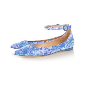 Blue Pointy Toe Flats Ankle Strap Floral School Shoes