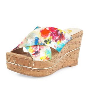 Women's Floral-print Strappy Wedge Slippers