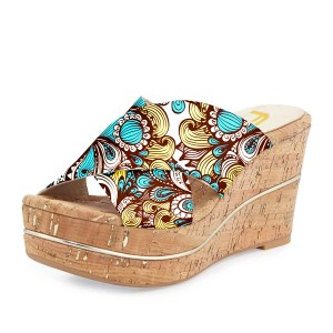FSJ Blue Floral Platform Sandals Open Toe Summer Cork Mules