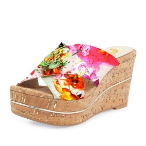 FSJ Floral Platform Sandals Open Toe Summer Cork Mules US Size 3-15