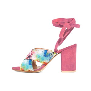 Women's Pink Splash Ink Floral Printed Chunky Heels Sandals
