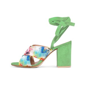 Women's Beryl Green Splash Ink Floral Printed Chunky Heel Sandals