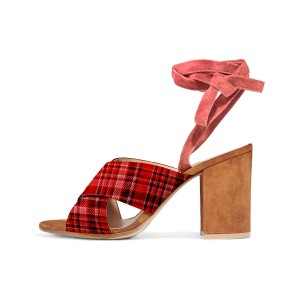 Plaid Block Heel Sandals Strappy Vintage Heels