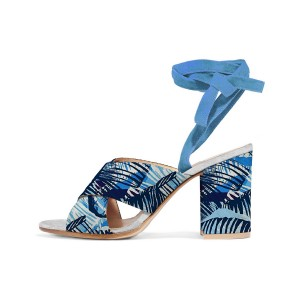 Blue Floral Block Heel Sandals Peep Toe Ankle Strappy Sandals