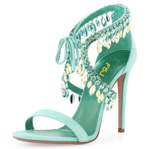 Women's Beryl Green Paillette Crossed Ankle Straps Sandals