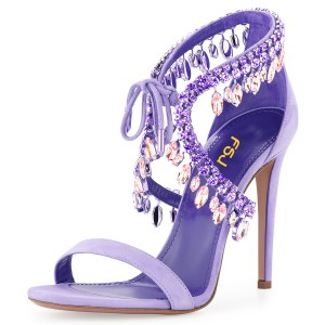 Lavender Lace up Sandals Rhinestone Evening Shoes