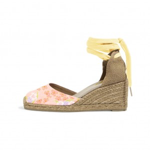 Pink Floral Print Espadrille Wedges Ankle Wrap Closed Toe Sandals