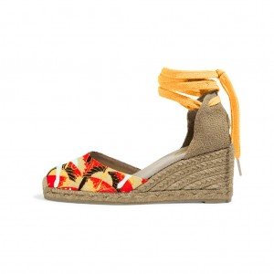 Mustard Closed Toe Wedges Strappy Cute Sandals by FSJ