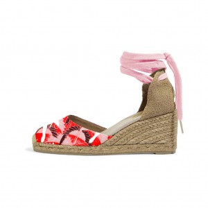 Red and Pink Espadrille Wedges Ankle Wrap Closed Toe Sandals