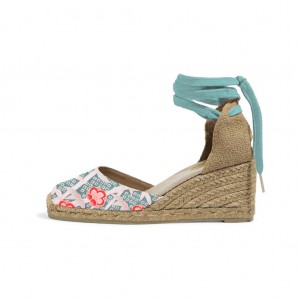 Teal Espadrille Wedges Floral Print Ankle Wrap Closed Toe Sandals