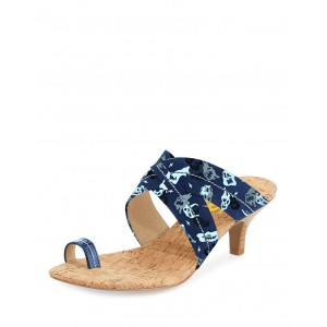 Navy Summer Sandals Kitten Heels for Holiday