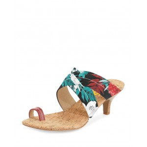 Tropical Scene Printed Kitten Heel Summer Sandals
