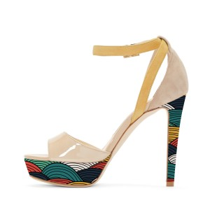 Nude Ankle Strap Sandals Stiletto Heels Colorful Platform High Heel Shoes