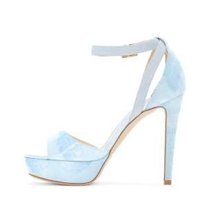 Light Blue Ankle Strap Sandals Open Toe Platform High Heel Shoes