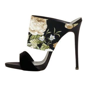 Floral Stiletto Heels Suede Formal Mule Sandals