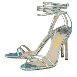 Floral Strappy Sandals Open Toe Stiletto Heels by FSJ