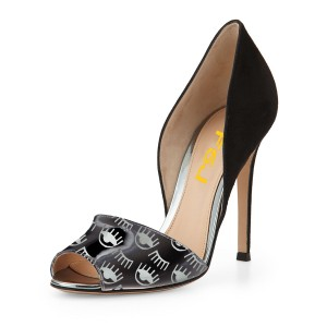 Black Peep Toe Heels Double D'orsay Pumps