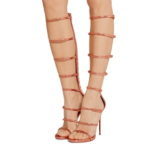 Rose Gold Shoes Metallic Stiletto Heel Knee High Gladiator Sandals
