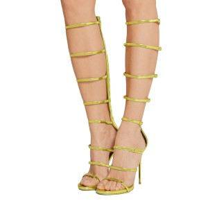 Lime Gladiator Sandals 4 Inch Stiletto Heels Open Toe Knee-high Sandals