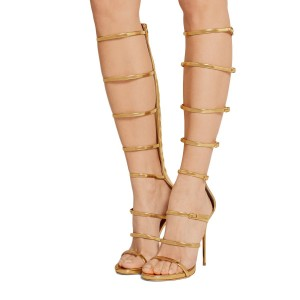 Gold Knee High Gladiator Sandals Metallic Heels by FSJ