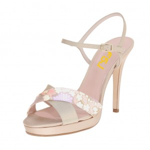 FSJ Nude Satin Office Sandals Open Toe Floral Heels US Size 3-15