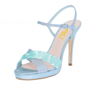 Light Blue Floral Platform Sandals Stiletto Heels Slingback Sandals