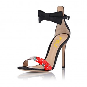 Floral Ankle Strap Sandals Open Toe Stiletto Heels with Bow