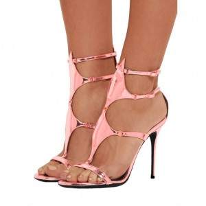 Pink Gladiator Sandals Mirror Leather Stilettos High Heels