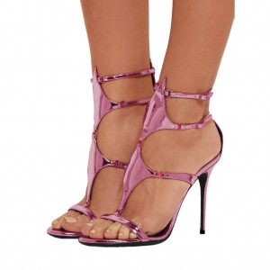 Magenta Mirror Leather Buckles Gladiator Shoes Stiletto Heel Sandals