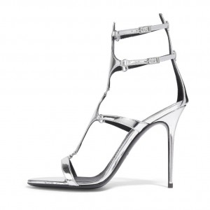 Silver Metallic Heels Open Toe Stiletto Heel Gladiator Sandals by FSJ