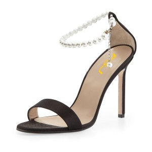 Women's Black Pearl Ankle Strap Sandals