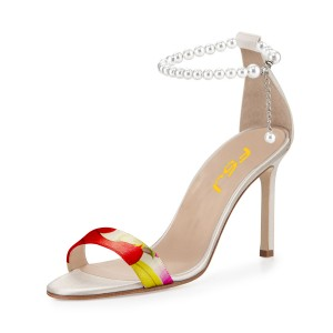 Women's Red Open Toe Pearl Ankle-Strap Sandals