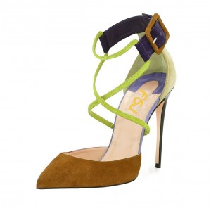 Khaki and Light Green Heels Crossed-over Straps Pumps for Women