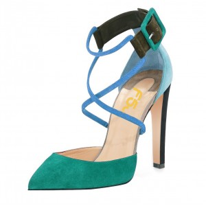 Green and Blue Heels Crossed-over High Heels Pumps