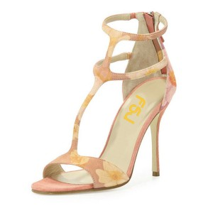 Peach Pink Floral Heels T-Strap Zipper Stiletto Heels Sandals