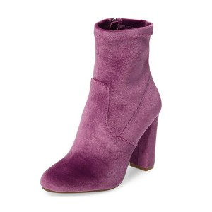 Women's Purple Chunky Heel Boots Velvet Round Toe Ankle Boots