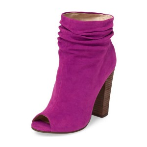 Women's Plum Commuting Suede Peep Toe Ankle Chunky Heel Boots