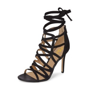 Black Strappy Sandals Sexy Open Toe Suede Stiletto Heels