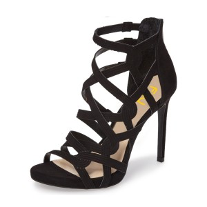 Black Hollow-out Knit Stiletto Gladiator Heels Sandals for Women