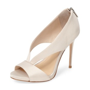 Women's Beige Satin Peep Toe Stiletto Heels Pumps Shoes