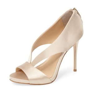 Champagne Bridal Sandals Cut out Satin Open Toe Stiletto Heels