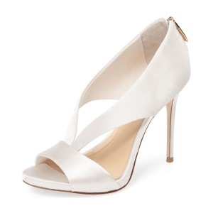 Women's White Peep Toe Cutout Stilettos Heels Bridal Shoes