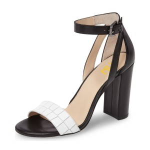 Black and White Heels Ankle Strap Suede Block Heel Sandals