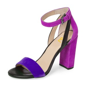 Purple and Magenta Ankle Strap Sandals Suede Block Heels