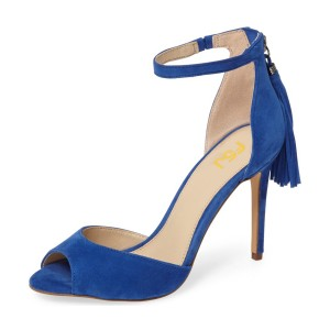 Royal Blue Heels Ankle Strap Sandals Suede Tassels Stiletto Heels