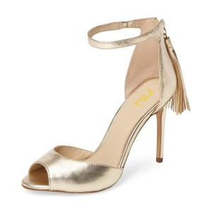 Gold Ankle Strap Sandals Peep Toe Tassels Mirror Leather Stiletto Heels