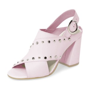 Pink Studs Shoes Slingback Chunky Heel Sandals by FSJ