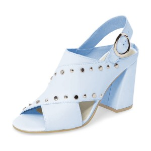 Light Blue Studs Shoes Slingback Chunky Heel Sandals by FSJ
