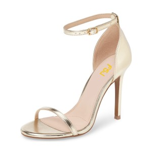 Golden Ankle Strap Sandals 3 Inch Open Toe Stiletto Heels