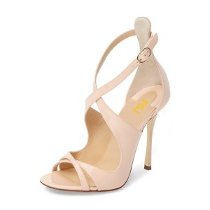 Women's Nude Peep Toe Stiletto Heels Cross-over Strap Patent Leather Sandals
